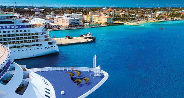 Cruise ships at port in Nassau, The Bahamas