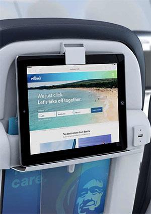Seat-back tablet holder © ALASKA AIRLINES