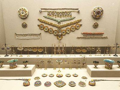 Jewelry on display at the Benaki Museum