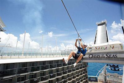 Caribbean's Oasis of the Seas zip-line © ROYAL CARRIBBEAN