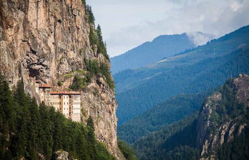 Sumela Monastery hugging the hillside in Trabzon