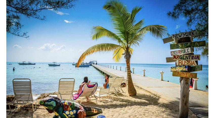 International destinations signpost at Rum Point Club Beach, Grand Cayman