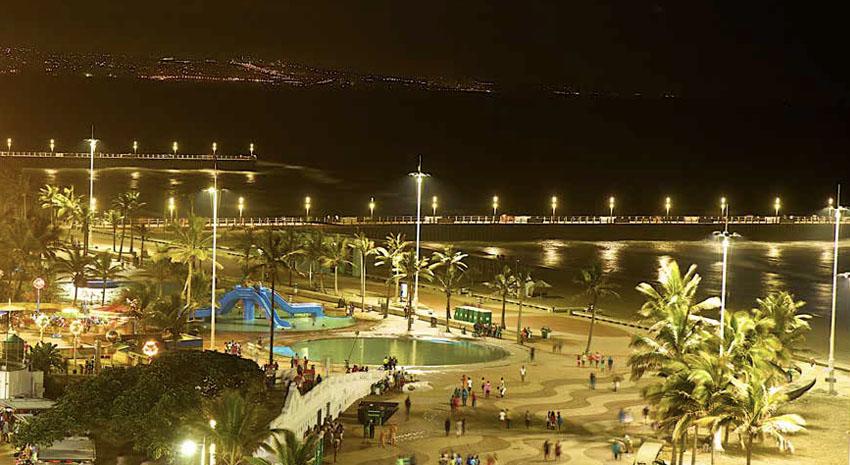 Durban beach at night