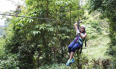 Zip line in Costa Rica rainforest