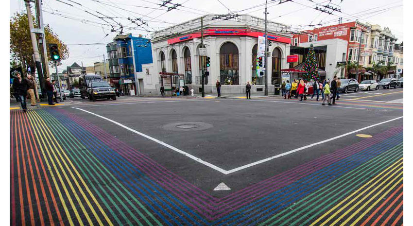 People crossing at the intersection of Castro and 18th streets in the heart of the gay village