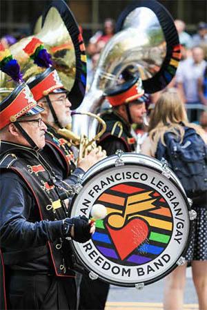 The San Francisco Lesbian/Gay Freedom Band performing in the San Francisco Gay Pride Parade
