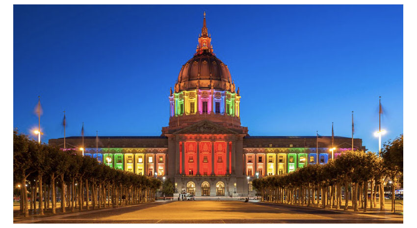 San Francisco City Hall illuminated in rainbow colors in honor of Pride Week PHOTO: © NICKOLAY STANEV | DREAMSTIME