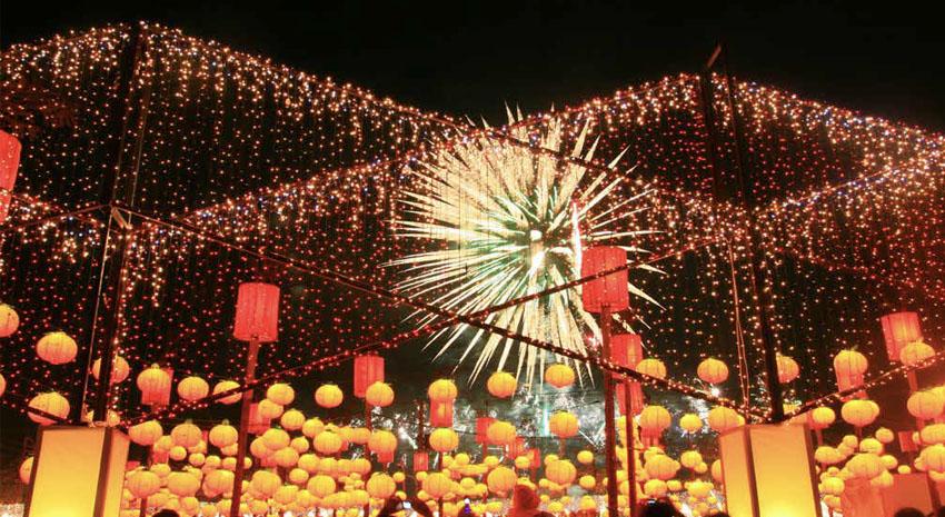 Fireworks show at Taiwan Lantern Festival in Chiayi