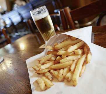 Brussels fries and beer at a pub