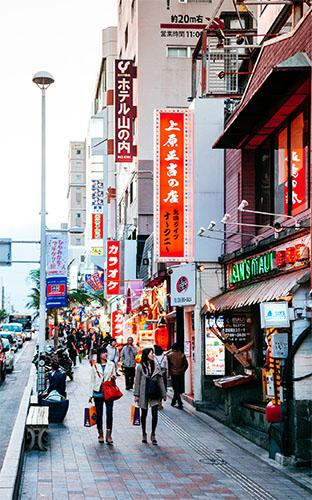 Famous Heiwadori Street at Kokusai Street boasts many souvenir shops.