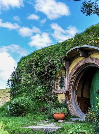 Visitors can view Bilbo Baggins' house in Hobbiton, Matamata, New Zealand