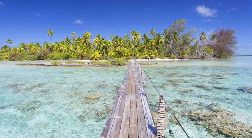 Footbridge across a lagoon at Tetamanu on Fakarava in the Tuamotu archipelago