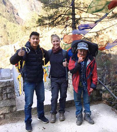 Writer Kristy Alpert alongside her guide and porter