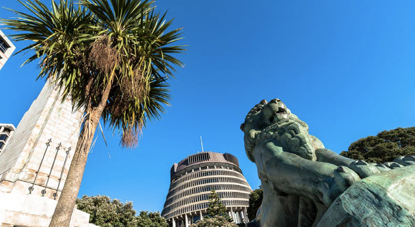 The Beehive Executive Wing of Parliament and a lion sculpture