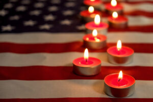 Flag and candles