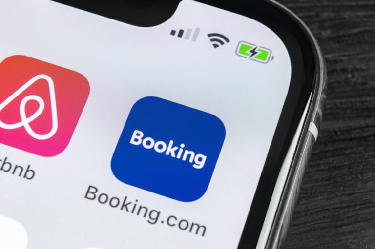 Booking.com application icon on Apple iPhone