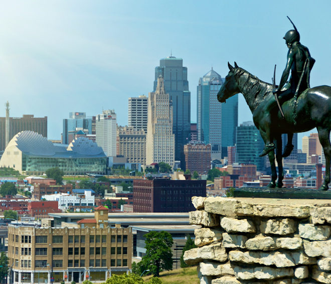 The Indian Scout is known as a Kansas City landmark and symbol of the city. The scout overlooks the Kansas City Skyline from a hill top © Fotoeye75 | Dreamstime.com