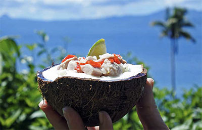 The national kokoda fish and coconut dish