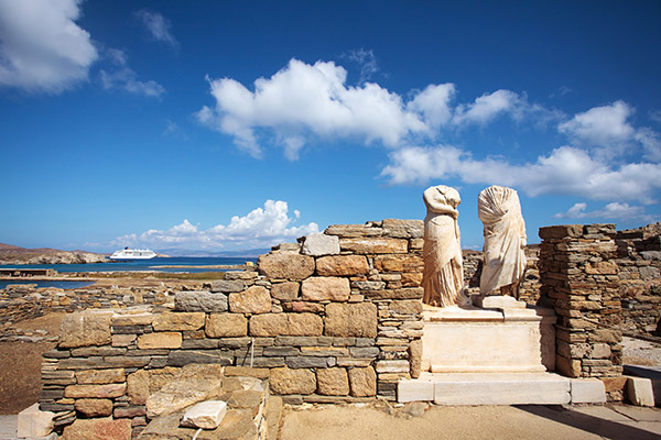 Ruins of the Cleopatra House in Delos, Greece