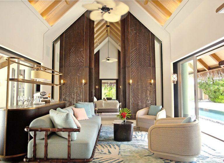 Luxury beach villa with pool overview © Joali Maldives