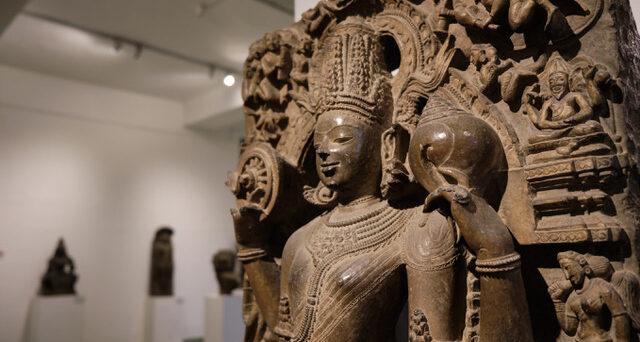 Stone statue of Hindu deity